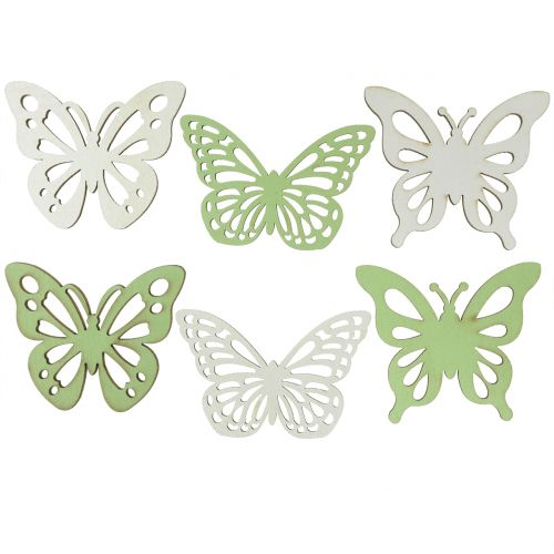 Farfalla in legno verde / bianco 5 cm 36 pezzi