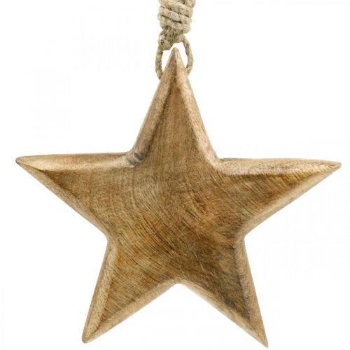 Stella decorativa, ciondoli in legno, decorazioni natalizie 14cm × 14cm