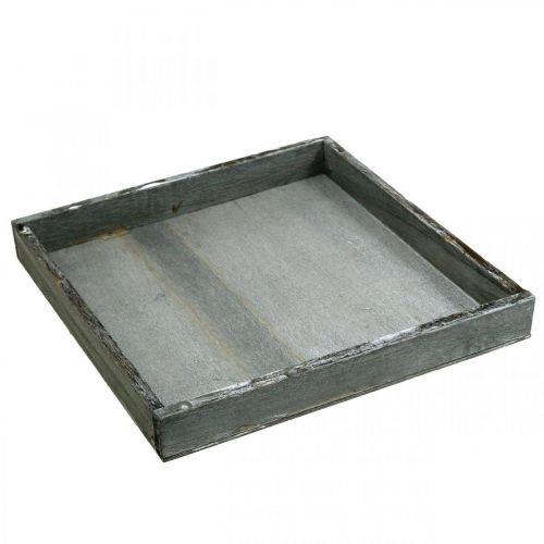 Vassoio in legno angolare grigio, bianco decoro tavola Shabby Chic 24.5x24.5cm