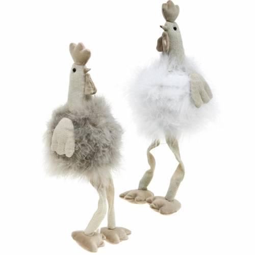 Coppia polli decorazione pasquale, sedute bordo, primavera, polli decorativi con piume 2pz
