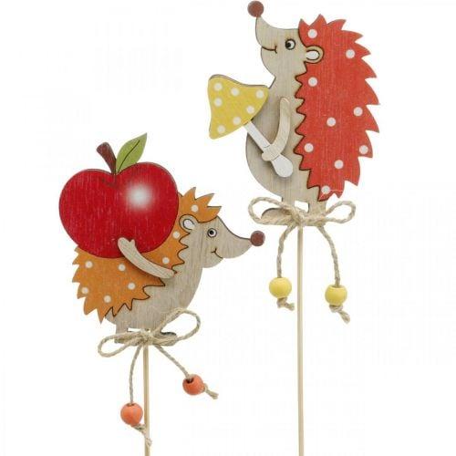 Riccio con spilla da fiore, decorazione in legno, figura autunnale H9,5 cm L32 cm 12 pezzi