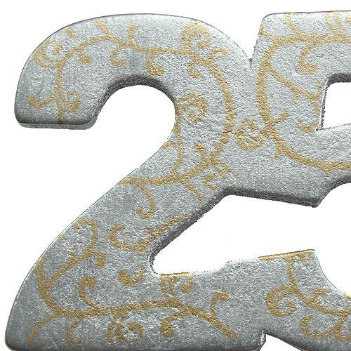 """Numero anniversario """"25"""" in legno argento 36 pezzi"""