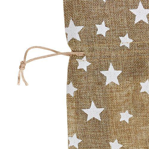 Sacco di iuta con stelle 23 cm x 23 cm H35 cm natura