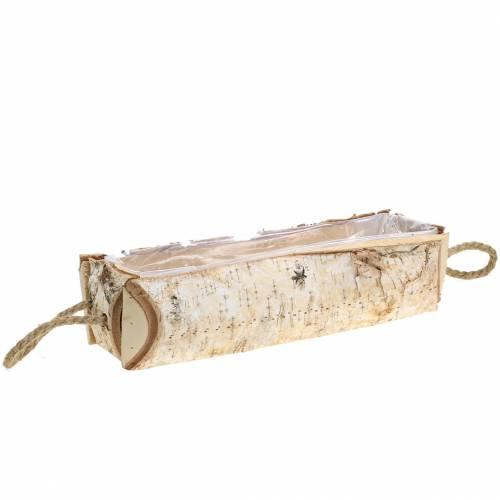 Fioriera in betulla con manici in corda 38x16cm H9cm
