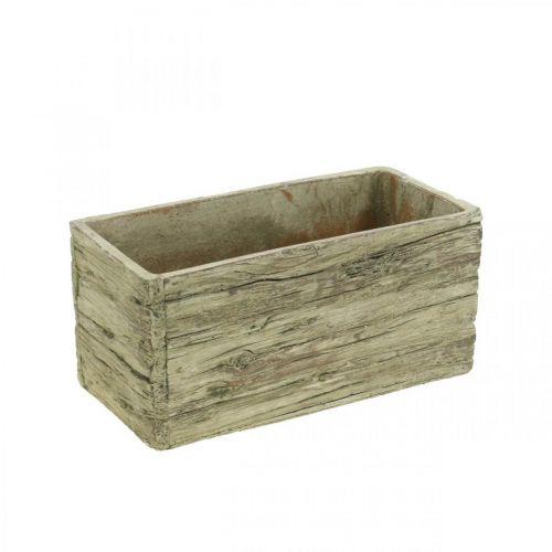 Fioriera rettangolare in cemento aspetto legno marrone 23 × 10,5 cm H11 cm