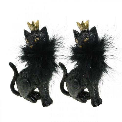 Figura decorativa gatto poliresina con corona oro nero H12.5cm 2 pezzi