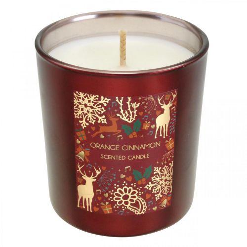 Candela natalizia profumata arancio, cannella vetro rosso Ø7 / H8cm