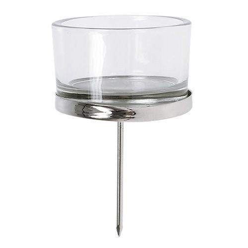 Portacandela con vetro argento 4pz