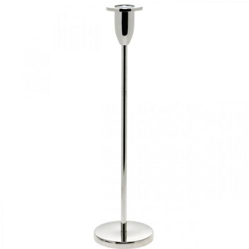 Candeliere candeliere in metallo argentato decoro per candele stecco H31cm