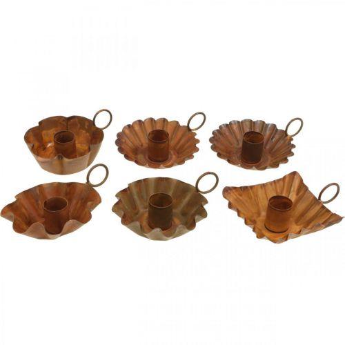 Portacandele vintage per candele coniche in metallo effetto ruggine 9 cm 6 pezzi