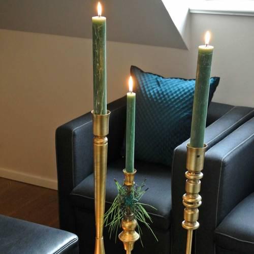 Candeliere in metallo color ottone anticato Ø8cm H53,5cm