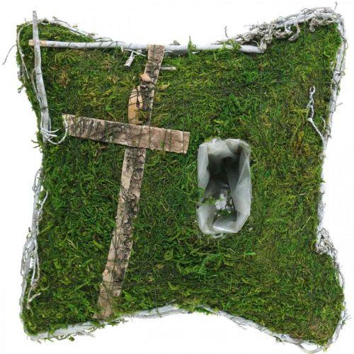 Cuscino muschio e viti con croce per sistemazione tomba 25x25cm