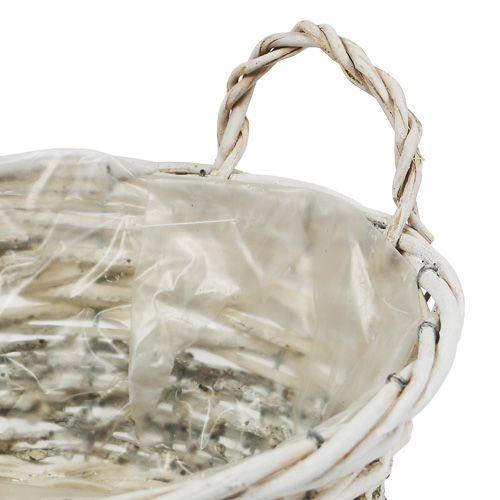 Cesto per piante rotondo bianco lavato Ø 26,5cm