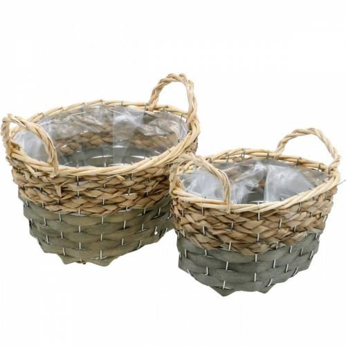 Fioriera ovale basket intrecciata naturale, grigio 29/24 cm, set di 2