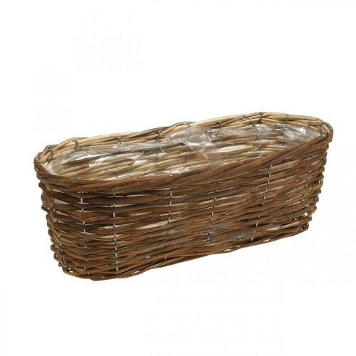 Cestino ciotola, fioriera, cesto in legno per piantare la natura L41cm H13,5