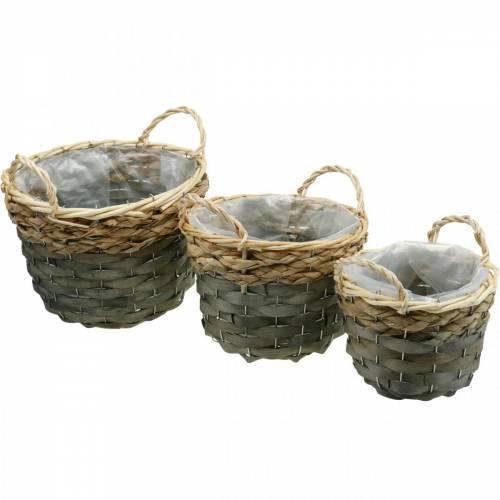 Cesto per piante, cesto intrecciato per piantare, cesto di fiori rotondo naturale, grigio Ø29 / 23,5 / 18cm, set di 3