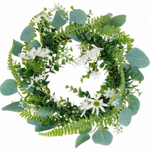 Corona di eucalipto artificiale con felce, margherite del capo e gelsomino, ghirlanda porta, ghirlanda decorativa, decorazione della tavola