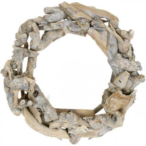 Ghirlanda decorativa ghirlanda di radica di legno lavato bianco Ø35cm H9cm