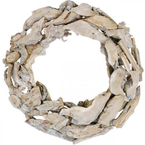 Radici e rami di ghirlanda di legno Ghirlanda decorativa laccata bianca Ø40cm H9cm