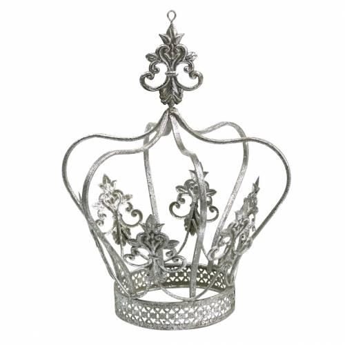 Corona decorativa in metallo argentato Ø17.3cm H22.5cm