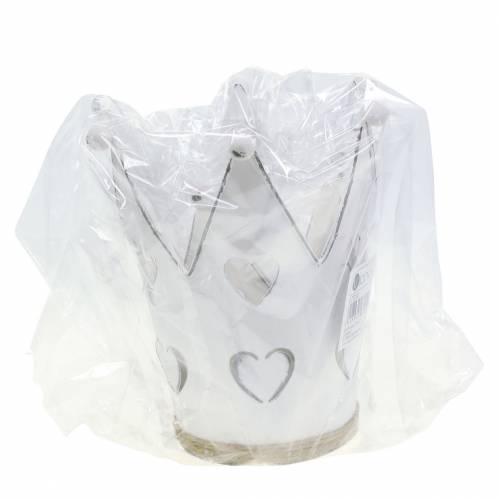 Vaso corona zinco cuori lavato bianco Ø12 / 14cm 2 pezzi