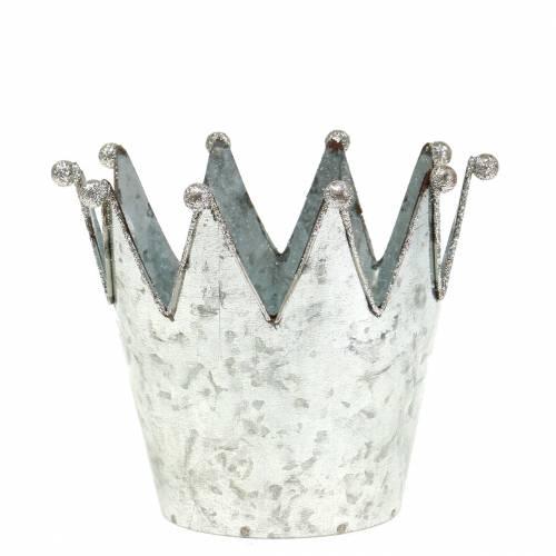 Vaso decorativo corona metallo argento Ø13,5 cm H11,5 cm 2 pezzi