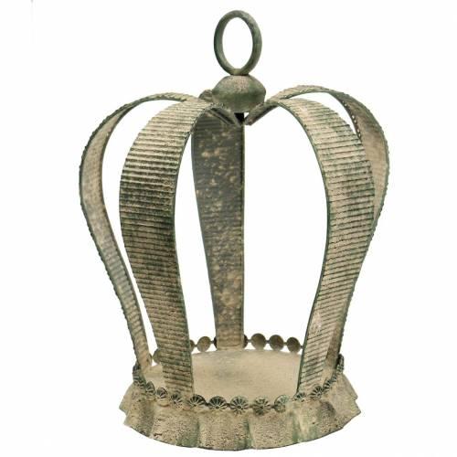 Corona decorativa in metallo antico verde muschio, beige Ø28cm H36.5cm