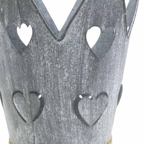 Corona di zinco con cuori cuori lavati set grigio Ø12 / 14cm