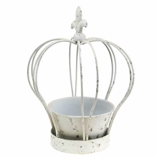 Corona con conchiglia in metallo decorato bianco H26cm