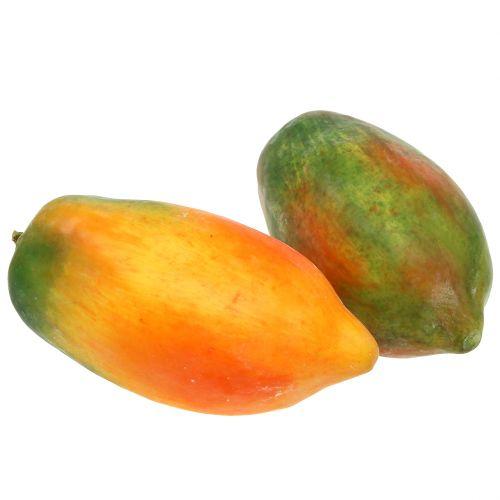 Papaia artificiale 13 cm e 14 cm giallo, verde 2 pezzi