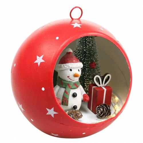 Palla di Natale da appendere pupazzo di neve e LED rosso Ø14cm Per batterie