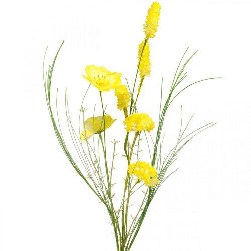 Bouquet artificiale giallo, papavero e ranuncolo arbustivo in un mazzo, fiori di seta, decoro primaverile L45cm