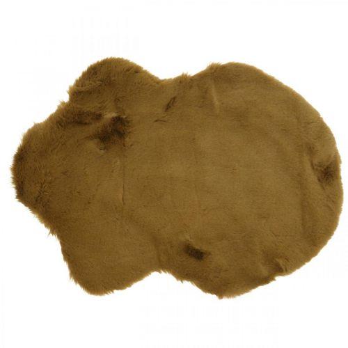 Tappeto in pelliccia deco marrone Tappeto in pelliccia artificiale 55 × 38 cm