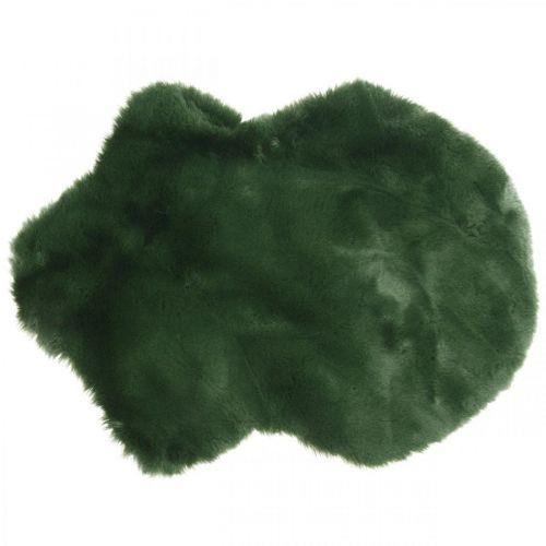 Tappeto decorativo in pelliccia verde ecopelliccia 55 × 38 cm