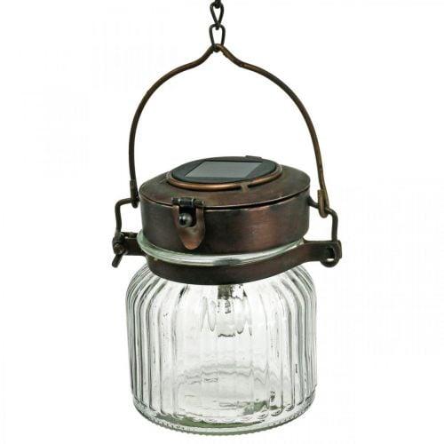 Lanterna LED, lampada a sospensione, luce solare in vetro Ø11cm H14cm