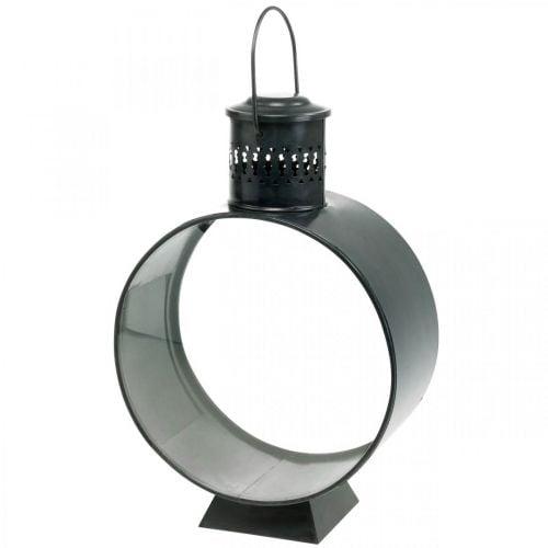 Lanterna decorativa rotonda, decorazione candela rustica, luce del vento in metallo Ø20cm H30cm