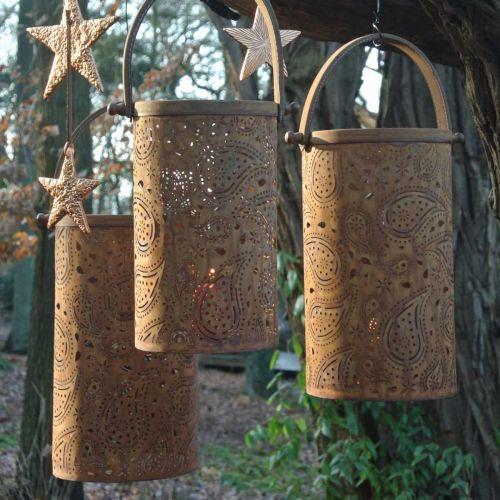 Lanterna in metallo con patina, decorazione estiva, set di lanterne con motivo cachemire Ø20 / 19 / 14cm H23,5/17 / 12,5cm