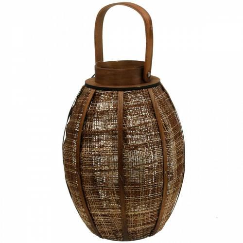 Lanterna intrecciata, decoro candela, lanterna in legno con manico Ø25cm H34,5cm