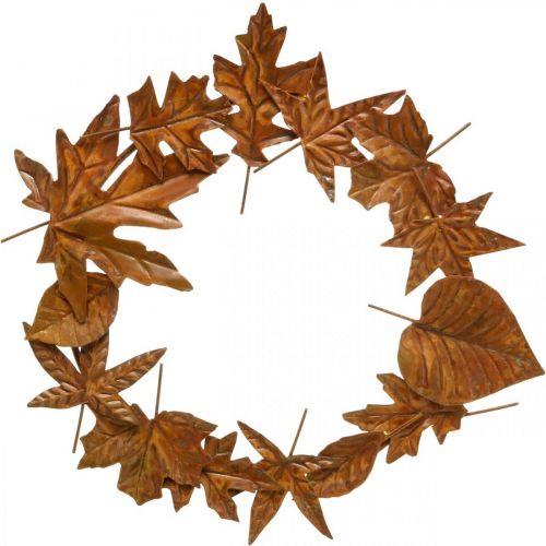 Corona di foglie, ruggine nobile, decorazione in metallo, ghirlanda, decorazione autunnale, floristica commemorativa Ø29cm