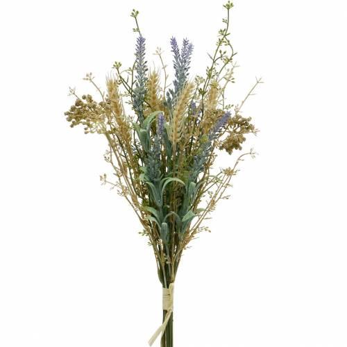 Mazzo di lavanda artificiale, fiori di seta, bouquet di campo di lavanda con spighe di grano e olmaria