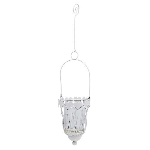 Lanterna in metallo Ø7,5cm H12cm bianco