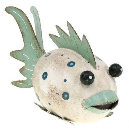 Deco pesce metallo verde, bianco 18 cm