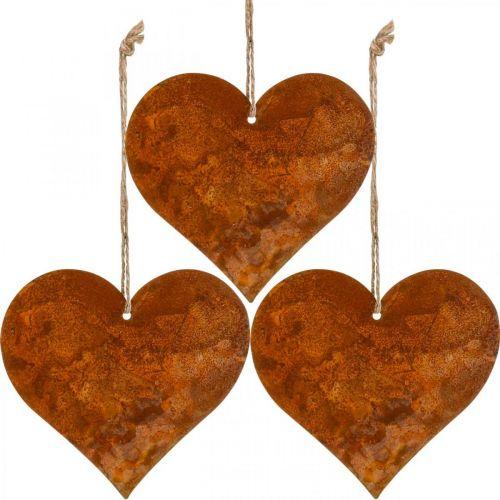 Cuori da appendere, autunno, decorazione in metallo patina 9,5 × 10 × cm 12pz