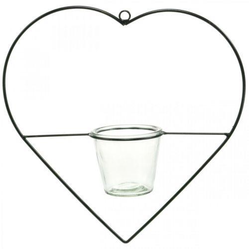 Lanterna cuore in metallo 38cm portacandelina da appendere con vetro