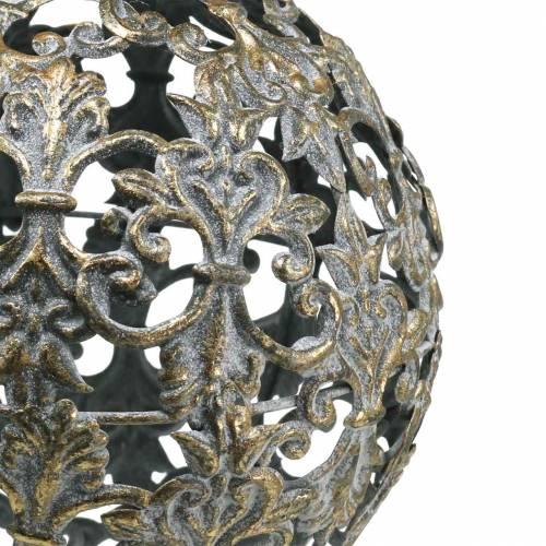Palla da appendere con ornamenti in metallo dorato aspetto antico Ø12cm