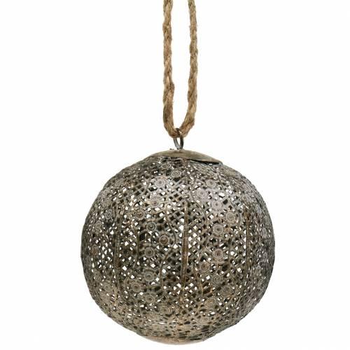 Sfera di metallo antica per appendere Ø10,5cm