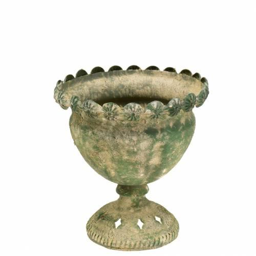 Tazza decorativa in metallo anticato verde muschio Ø13cm H14,5cm