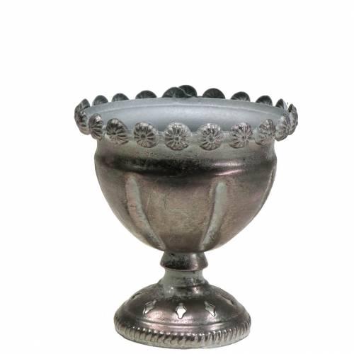 Coppa decorativa grigio metallo, argento Ø13cm H14.5cm
