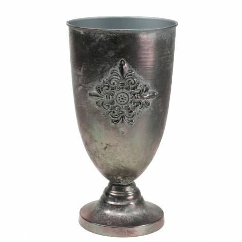 Calice decorativo in metallo con ornamento grigio argento Ø16,5cm H31cm