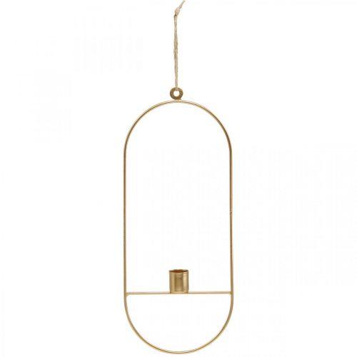 Portacandele per appendere metallo ovale dorato 13 × 30,5 cm 3 pezzi
